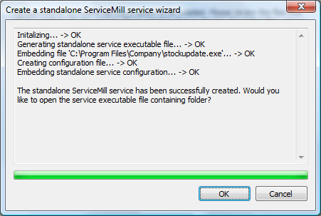 ServiceMill Exe Builder service creation